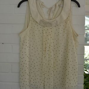 White with Gold Polka Dot Tank Top, Sequin Bow